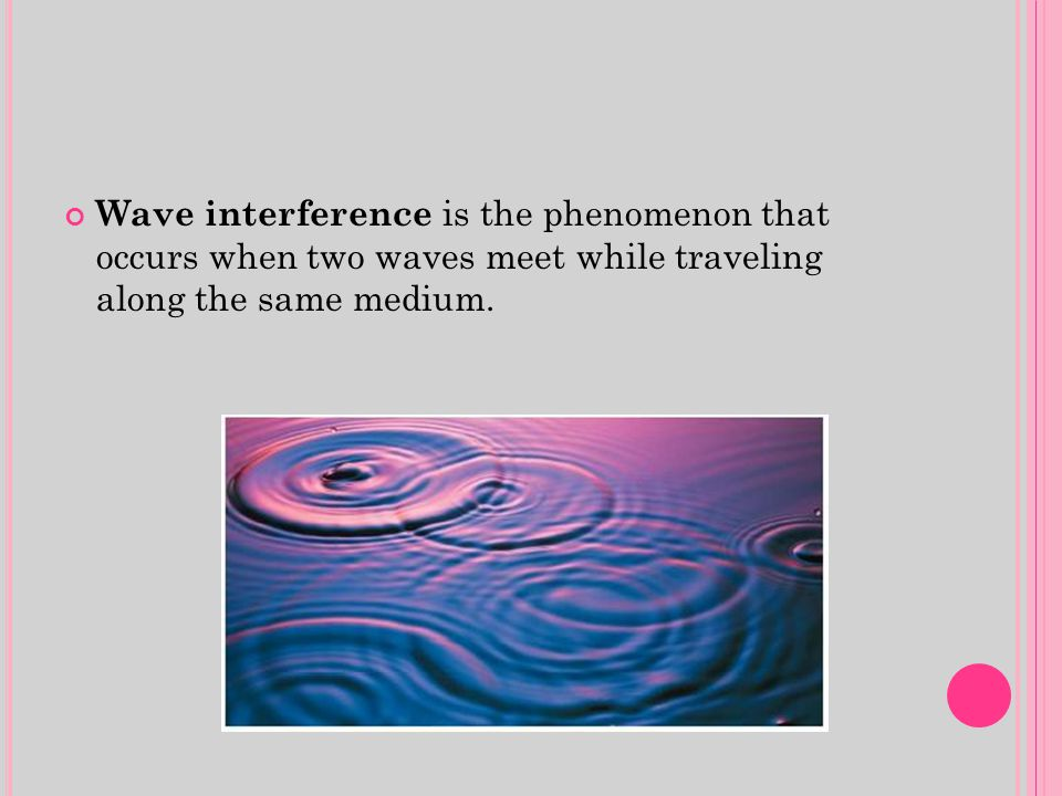 Wave interference is the phenomenon that occurs when two waves meet while traveling along the same medium.