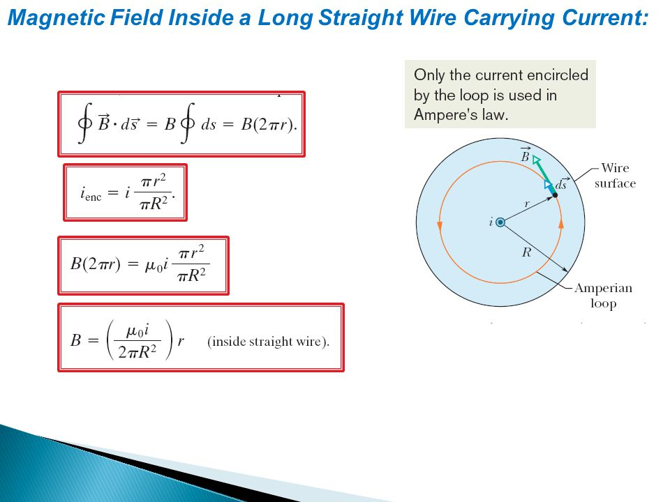 Magnetic Field Inside a Long Straight Wire Carrying Current: