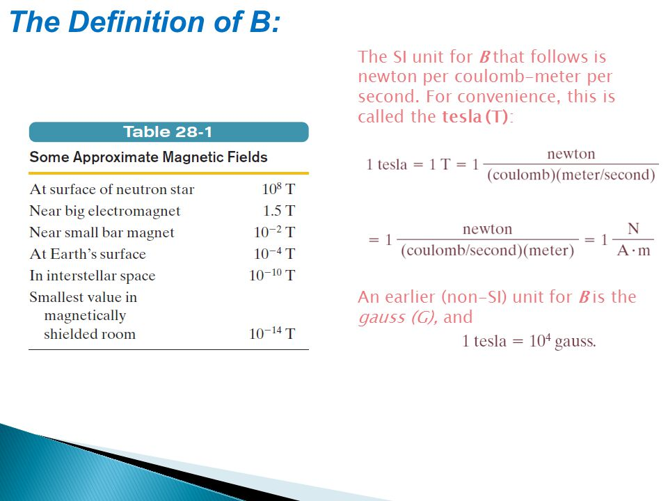 The Definition of B: The SI unit for B that follows is newton per coulomb-meter per second. For convenience, this is called the tesla (T): An earlier