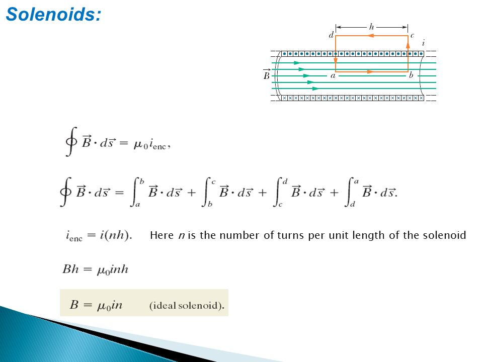 Solenoids: Here n is the number of turns per unit length of the solenoid
