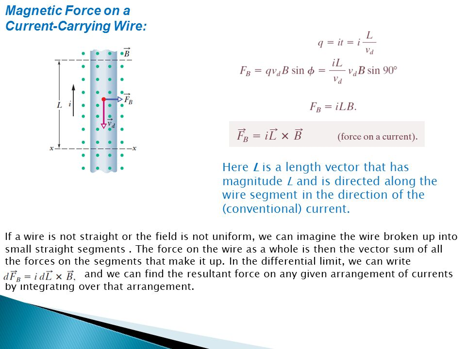 Magnetic Force on a Current-Carrying Wire: Here L is a length vector that has magnitude L and is directed along the wire segment in the direction of t