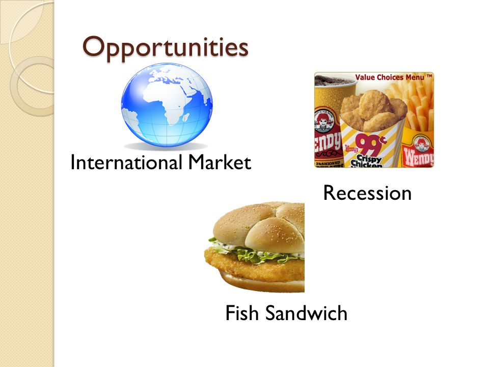 Opportunities International Market Recession Fish Sandwich