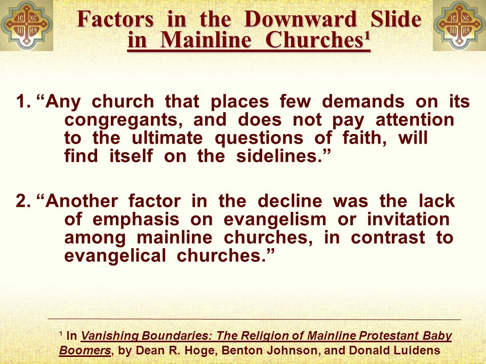 Factors in the Downward Slide in Mainline Churches¹ 1.