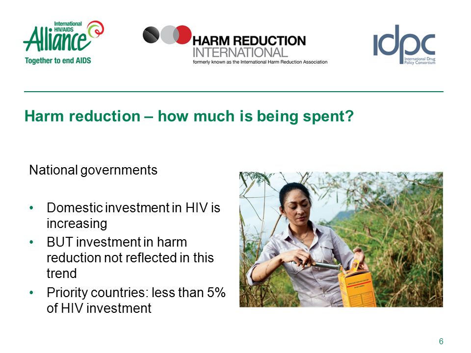 National governments Domestic investment in HIV is increasing BUT investment in harm reduction not reflected in this trend Priority countries: less than 5% of HIV investment Harm reduction – how much is being spent.