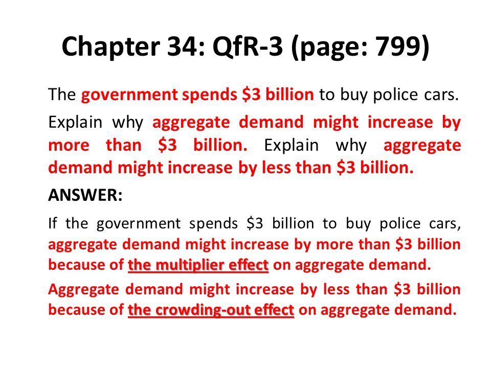 Chapter 34: QfR-3 (page: 799) The government spends $3 billion to buy police cars. Explain why aggregate demand might increase by more than $3 billion