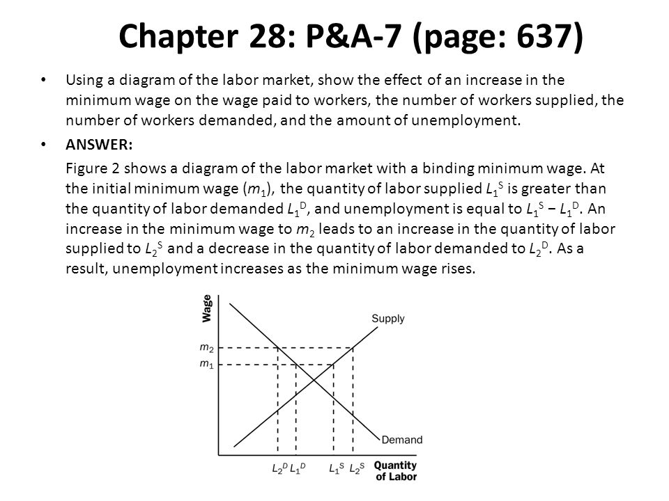 Chapter 28: P&A-7 (page: 637) Using a diagram of the labor market, show the effect of an increase in the minimum wage on the wage paid to workers, the