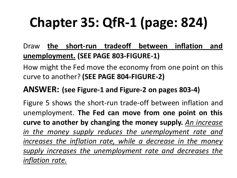 Chapter 35: QfR-1 (page: 824) Draw the short-run tradeoff between inflation and unemployment. (SEE PAGE 803-FIGURE-1) How might the Fed move the econo