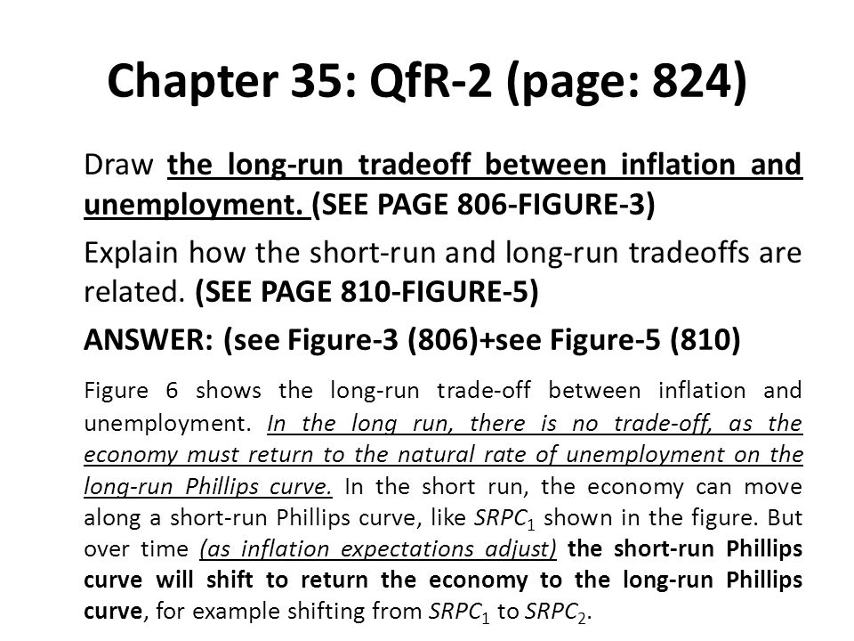 Chapter 35: QfR-2 (page: 824) Draw the long-run tradeoff between inflation and unemployment. (SEE PAGE 806-FIGURE-3) Explain how the short-run and lon