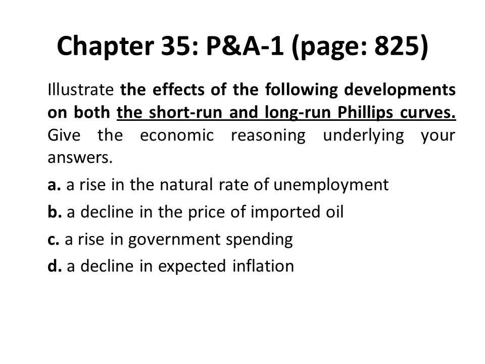Chapter 35: P&A-1 (page: 825) Illustrate the effects of the following developments on both the short-run and long-run Phillips curves. Give the econom