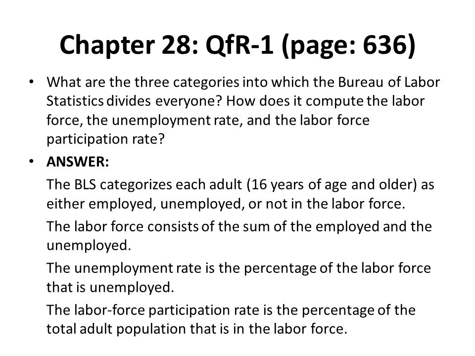 Chapter 28: QfR-1 (page: 636) What are the three categories into which the Bureau of Labor Statistics divides everyone? How does it compute the labor