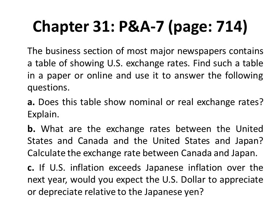 Chapter 31: P&A-7 (page: 714) The business section of most major newspapers contains a table of showing U.S. exchange rates. Find such a table in a pa