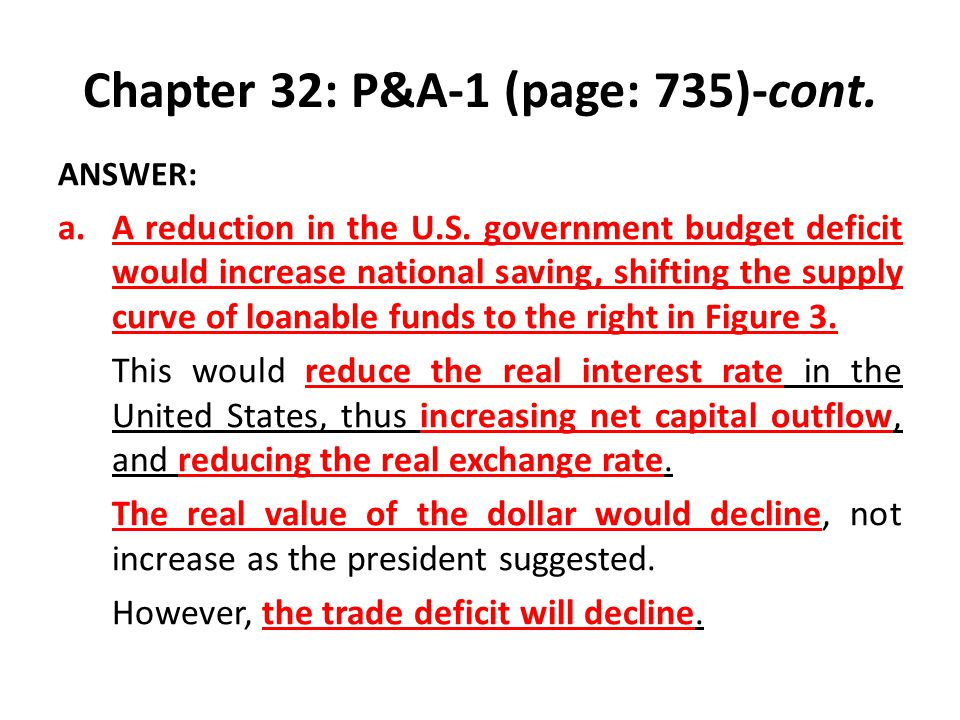 Chapter 32: P&A-1 (page: 735)-cont. ANSWER: a.A reduction in the U.S. government budget deficit would increase national saving, shifting the supply cu