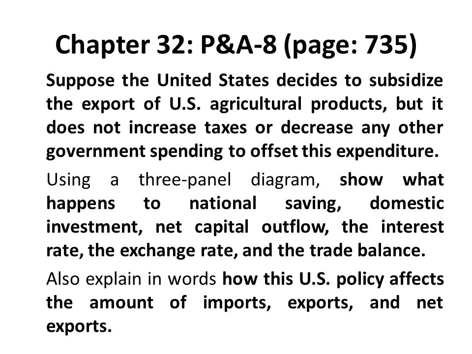 Chapter 32: P&A-8 (page: 735) Suppose the United States decides to subsidize the export of U.S. agricultural products, but it does not increase taxes