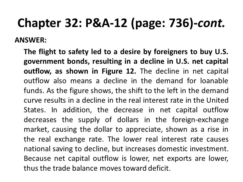 Chapter 32: P&A-12 (page: 736)-cont. ANSWER: The flight to safety led to a desire by foreigners to buy U.S. government bonds, resulting in a decline i