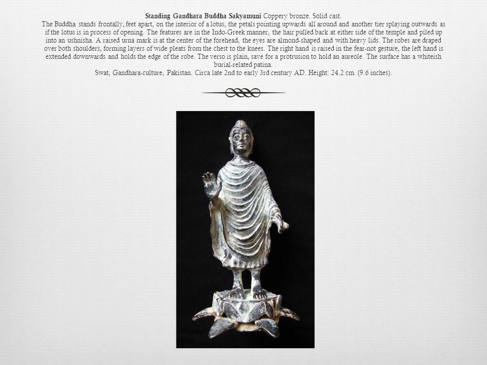 Standing Gandhara Buddha Sakyamuni Coppery bronze.
