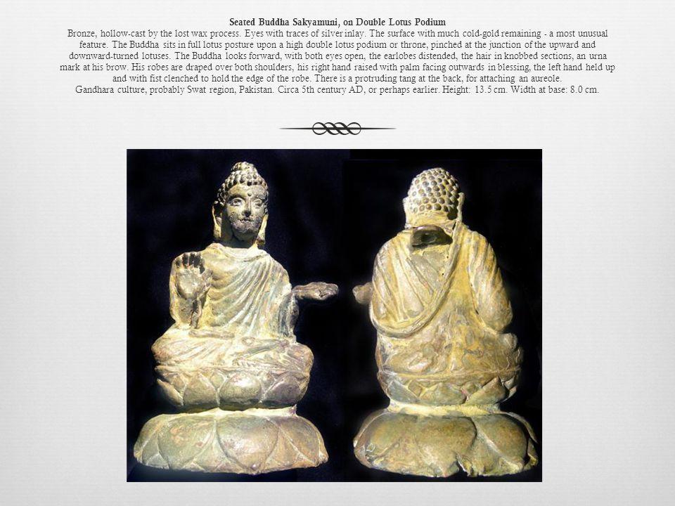 Seated Buddha Sakyamuni, on Double Lotus Podium Bronze, hollow-cast by the lost wax process.