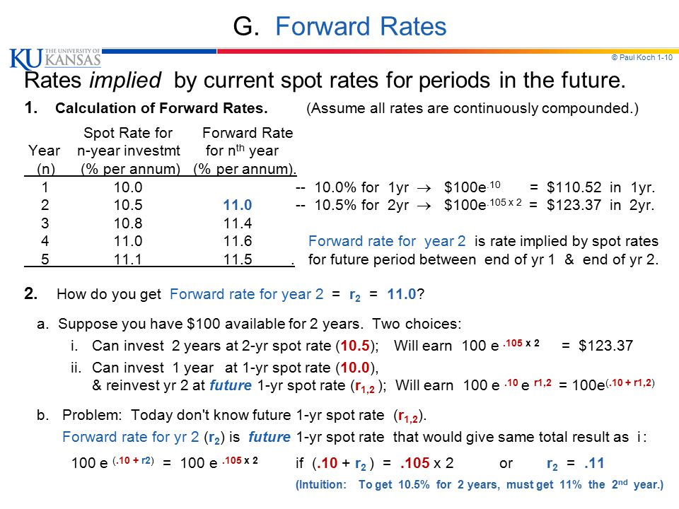 © Paul Koch 1-10 G. Forward Rates Rates implied by current spot rates for periods in the future.