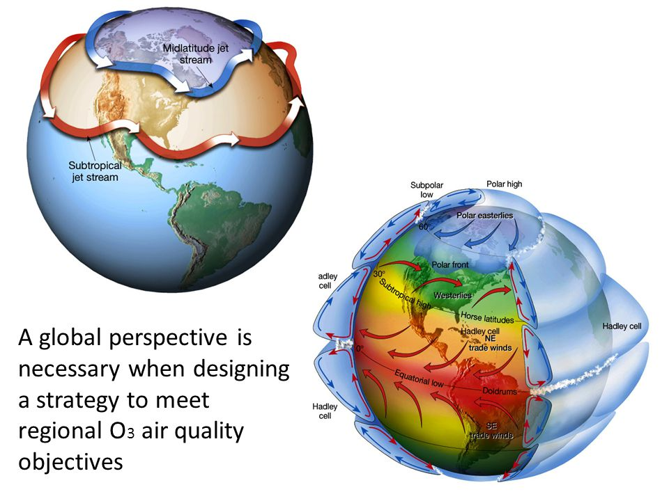 A global perspective is necessary when designing a strategy to meet regional O 3 air quality objectives