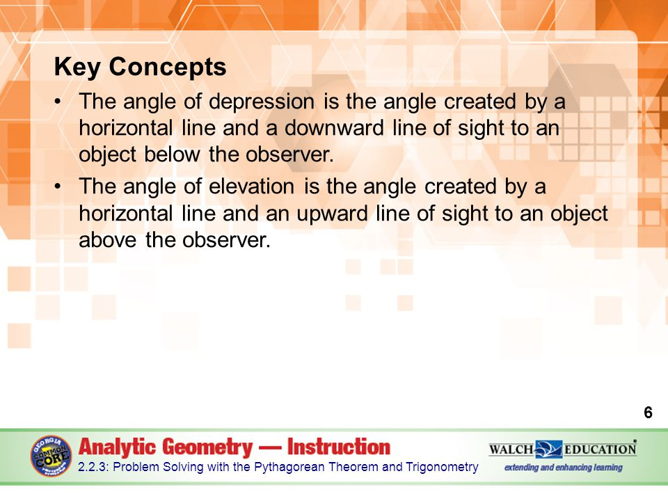 Key Concepts The angle of depression is the angle created by a horizontal line and a downward line of sight to an object below the observer.