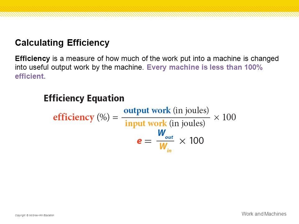Calculating Efficiency Efficiency is a measure of how much of the work put into a machine is changed into useful output work by the machine. Every mac