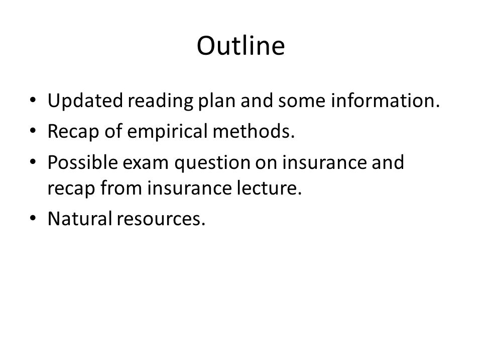 Outline Updated reading plan and some information.