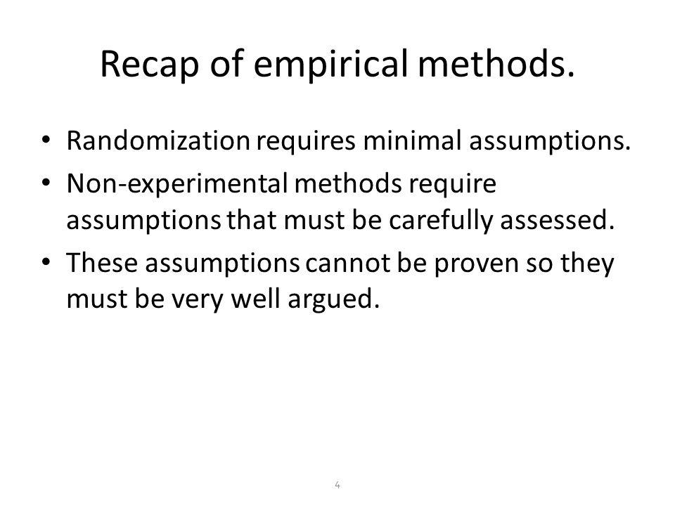 Recap of empirical methods. Randomization requires minimal assumptions.