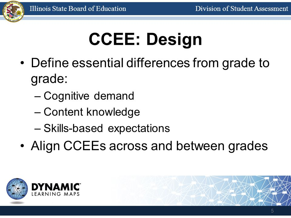 Division of Student AssessmentIllinois State Board of Education CCEE: Design Define essential differences from grade to grade: –Cognitive demand –Content knowledge –Skills-based expectations Align CCEEs across and between grades 5