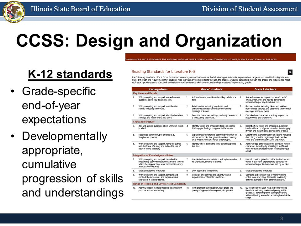 Division of Student AssessmentIllinois State Board of Education CCSS: Design and Organization K-12 standards Grade-specific end-of-year expectations Developmentally appropriate, cumulative progression of skills and understandings 8