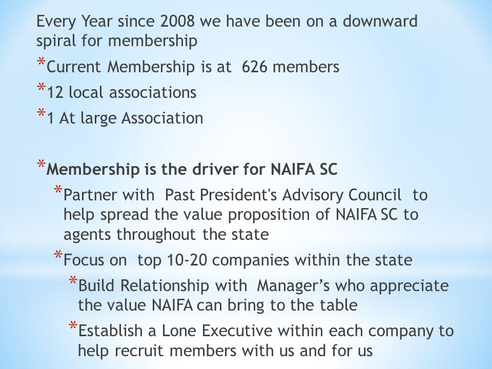 Every Year since 2008 we have been on a downward spiral for membership * Current Membership is at 626 members * 12 local associations * 1 At large Association * Membership is the driver for NAIFA SC * Partner with Past President s Advisory Council to help spread the value proposition of NAIFA SC to agents throughout the state * Focus on top 10-20 companies within the state * Build Relationship with Manager's who appreciate the value NAIFA can bring to the table * Establish a Lone Executive within each company to help recruit members with us and for us