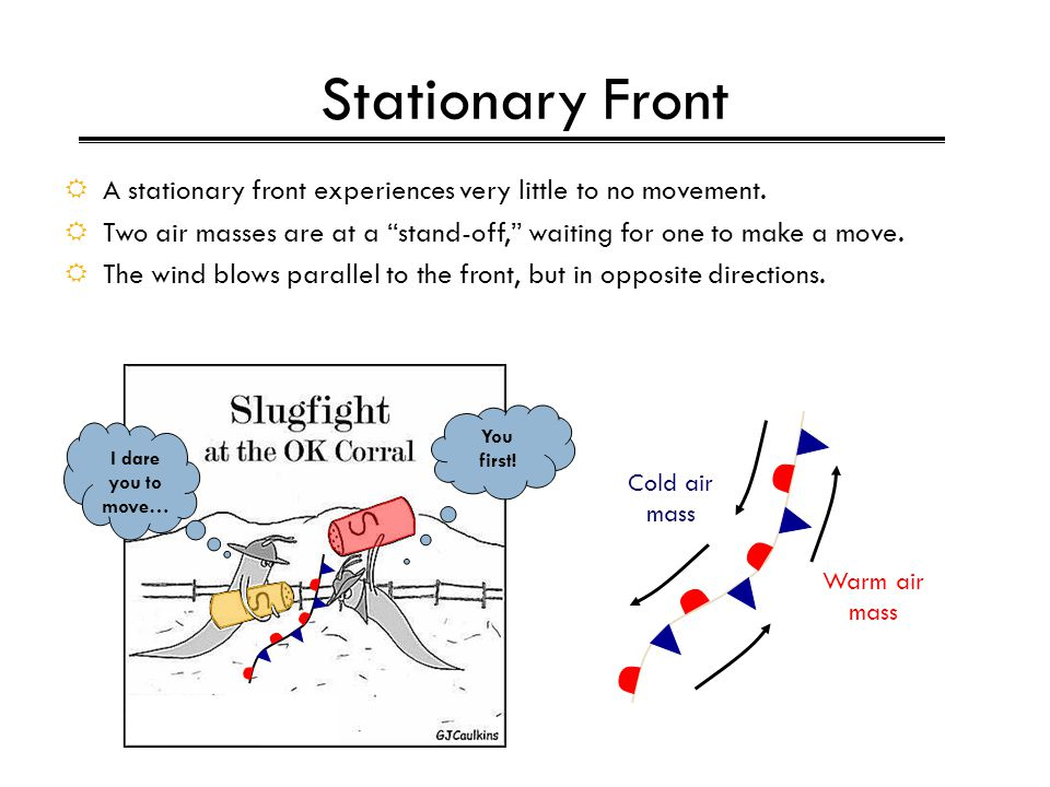 """Stationary Front  A stationary front experiences very little to no movement.  Two air masses are at a """"stand-off,"""" waiting for one to make a move. """