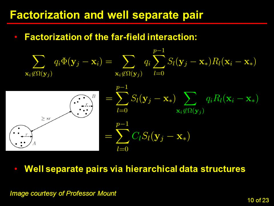 10 Task 3.5: Computational Considerations in Brownout Simulations Factorization and well separate pair Factorization of the far-field interaction: Well separate pairs via hierarchical data structures 10 of 23 Image courtesy of Professor Mount