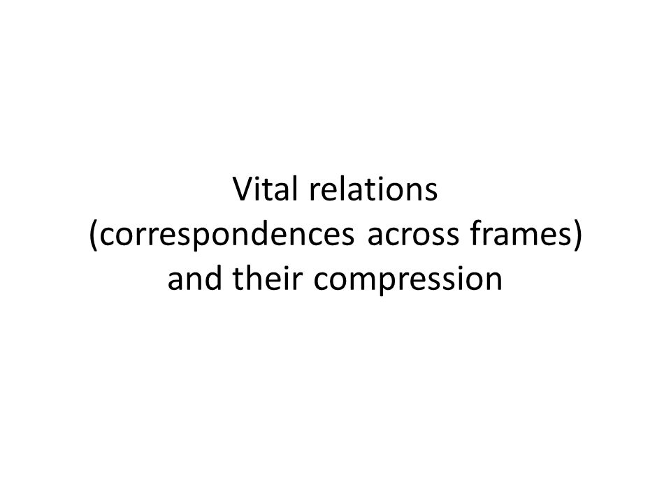 Vital relations (correspondences across frames) and their compression