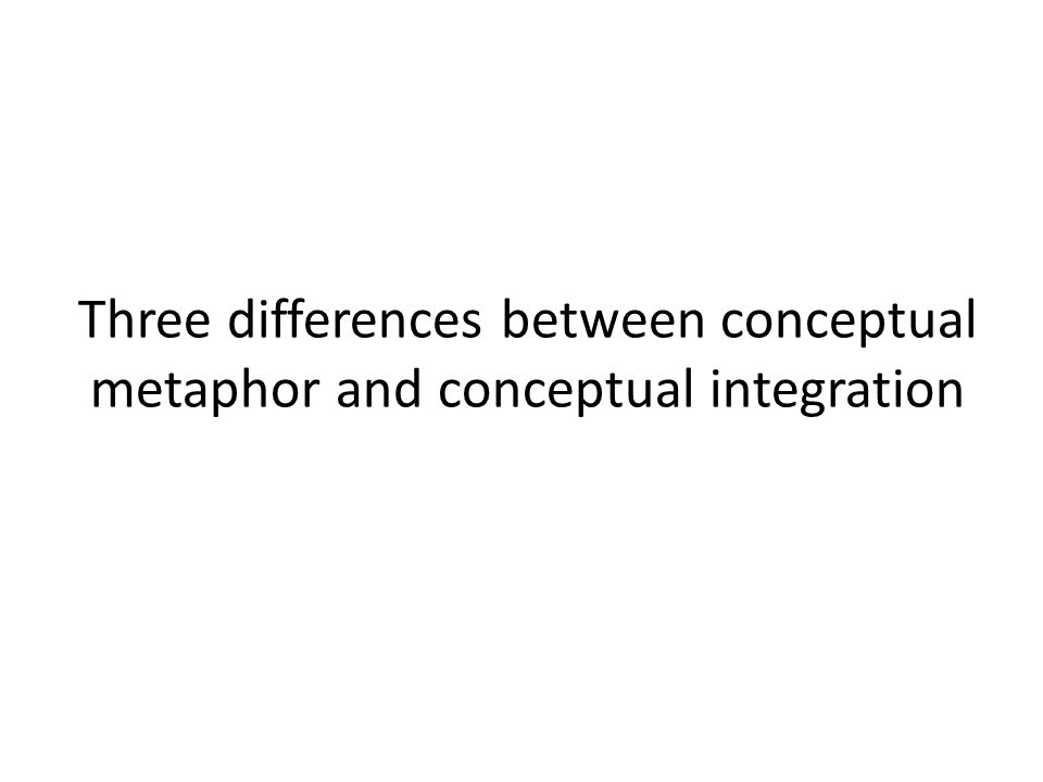 Three differences between conceptual metaphor and conceptual integration