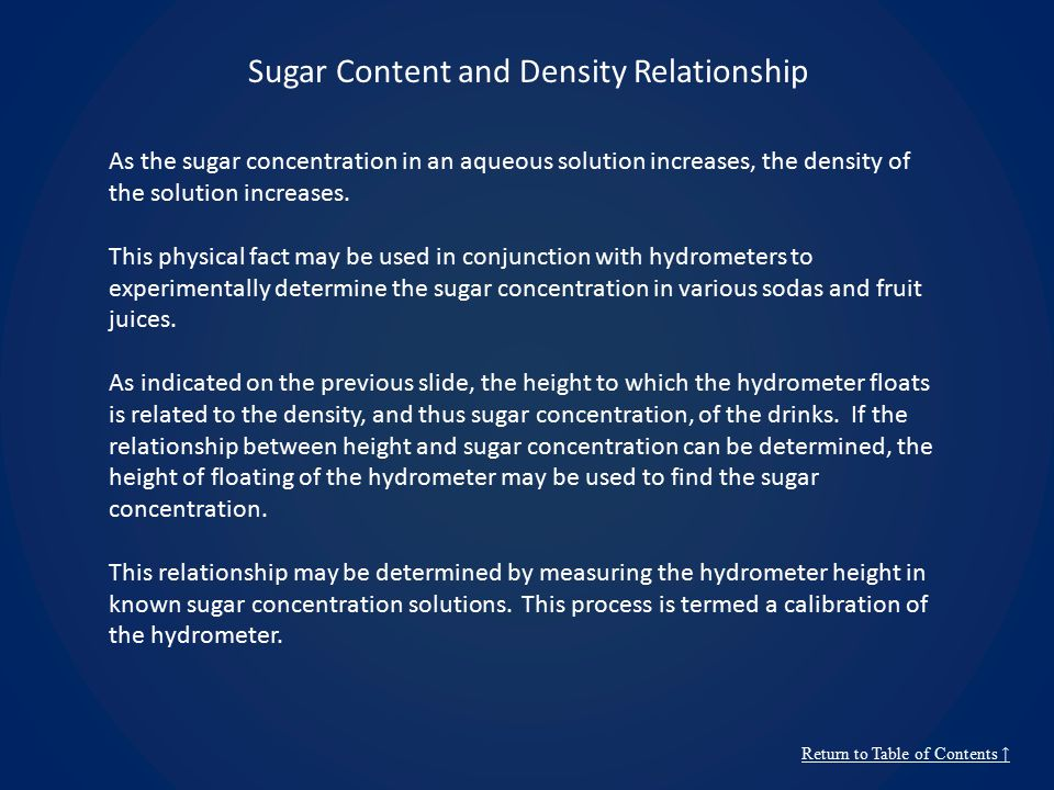 Sugar Content and Density Relationship Return to Table of Contents ↑ As the sugar concentration in an aqueous solution increases, the density of the s