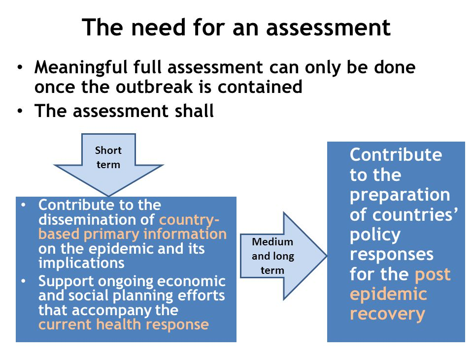 The need for an assessment Meaningful full assessment can only be done once the outbreak is contained The assessment shall Contribute to the dissemination of country- based primary information on the epidemic and its implications Support ongoing economic and social planning efforts that accompany the current health response Contribute to the preparation of countries' policy responses for the post epidemic recovery Short term Medium and long term