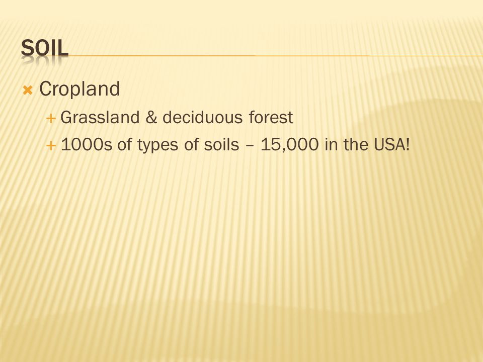  Cropland  Grassland & deciduous forest  1000s of types of soils – 15,000 in the USA!