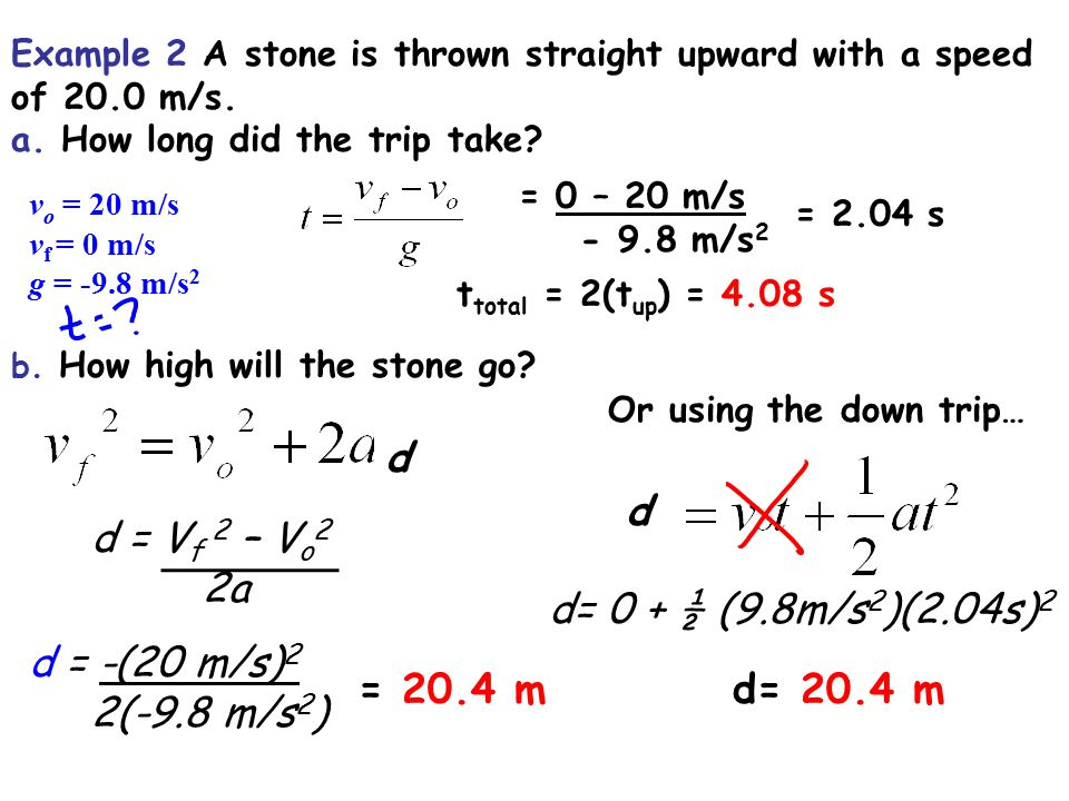 Example 2 A stone is thrown straight upward with a speed of 20.0 m/s.