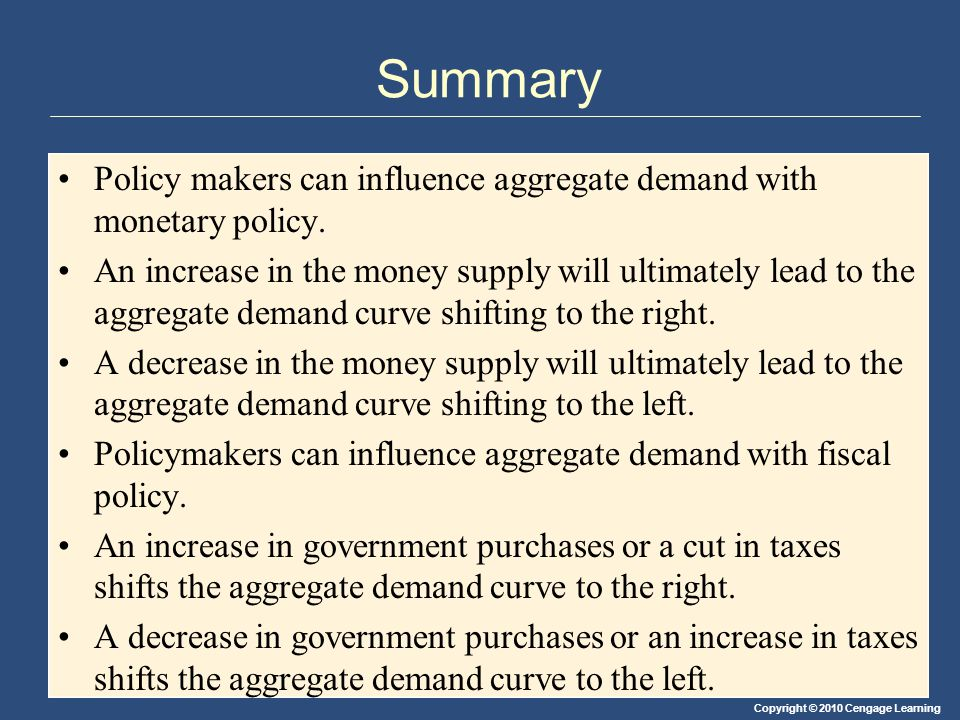 Copyright © 2010 Cengage Learning Summary Policy makers can influence aggregate demand with monetary policy.