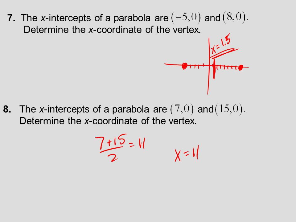 Vertex of the Parabola Defined by AlgebraicallyNumerically Example: a = −1 and b = 7 The y-values form a symmetric pattern about the vertex.