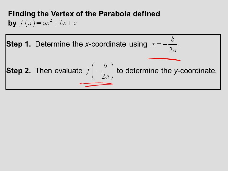 9. Determine the vertex of the parabola defined by