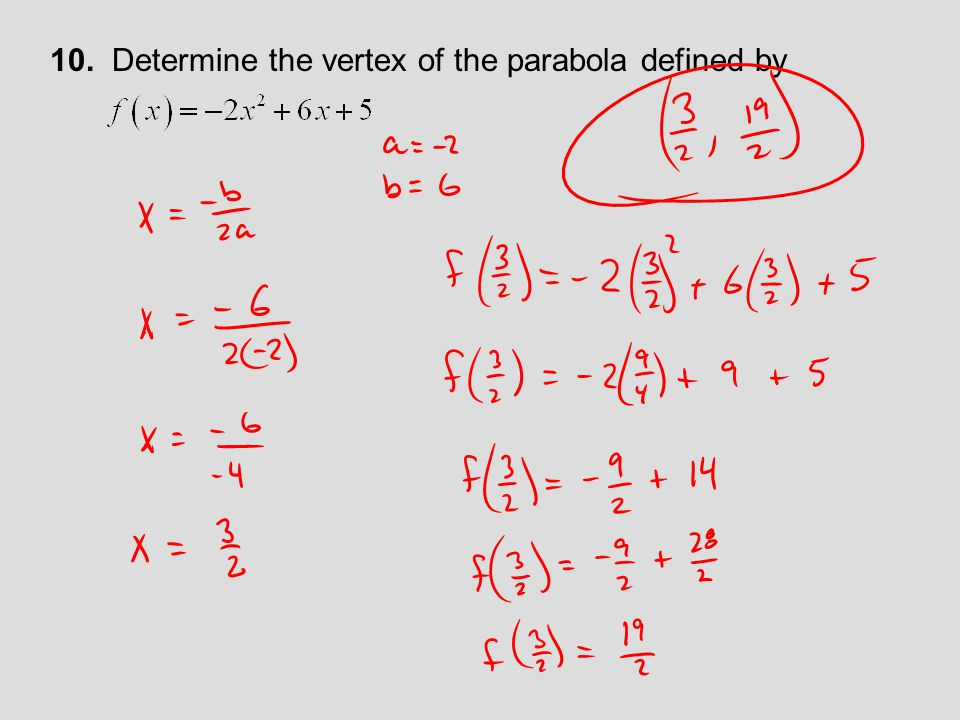 Use the given equation to calculate the x and y-intercepts and the vertex of each parabola.