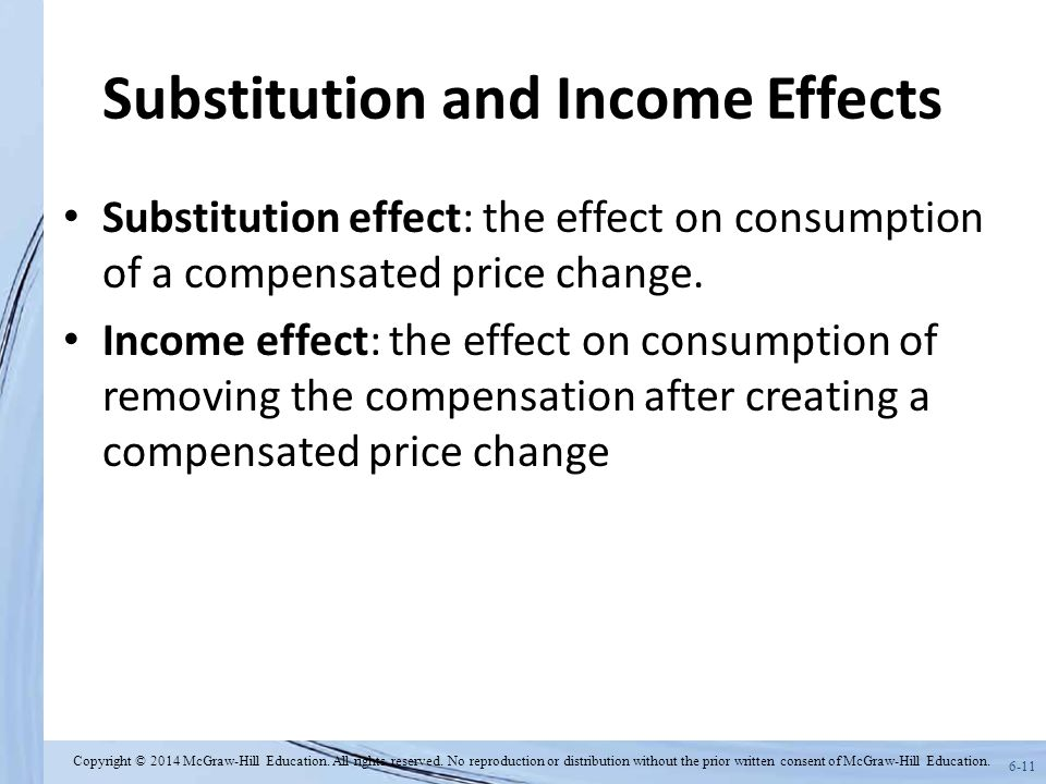 6-11 Substitution and Income Effects Substitution effect: the effect on consumption of a compensated price change. Income effect: the effect on consum