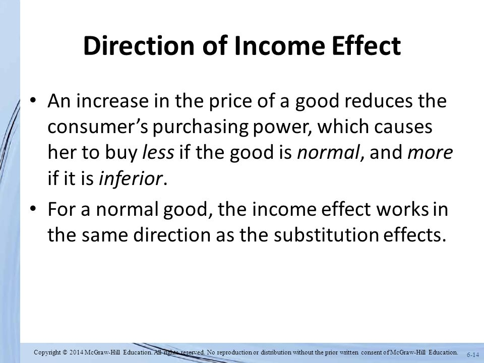 6-14 Direction of Income Effect An increase in the price of a good reduces the consumer's purchasing power, which causes her to buy less if the good is normal, and more if it is inferior.