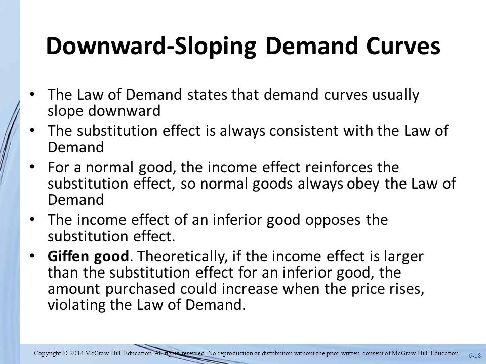 6-18 Downward-Sloping Demand Curves The Law of Demand states that demand curves usually slope downward The substitution effect is always consistent with the Law of Demand For a normal good, the income effect reinforces the substitution effect, so normal goods always obey the Law of Demand The income effect of an inferior good opposes the substitution effect.