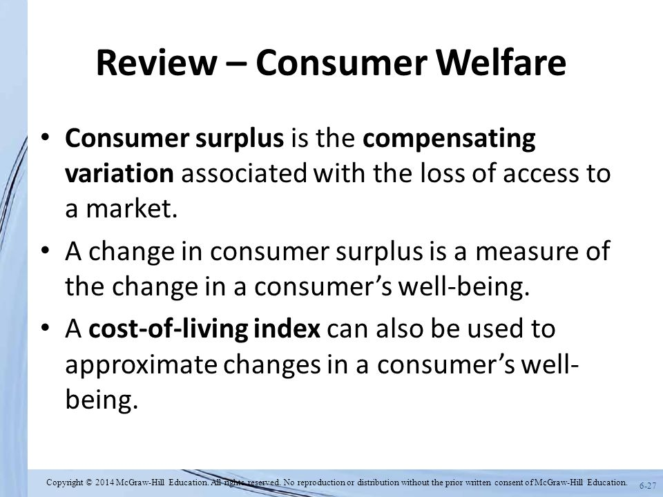 6-27 Review – Consumer Welfare Consumer surplus is the compensating variation associated with the loss of access to a market.