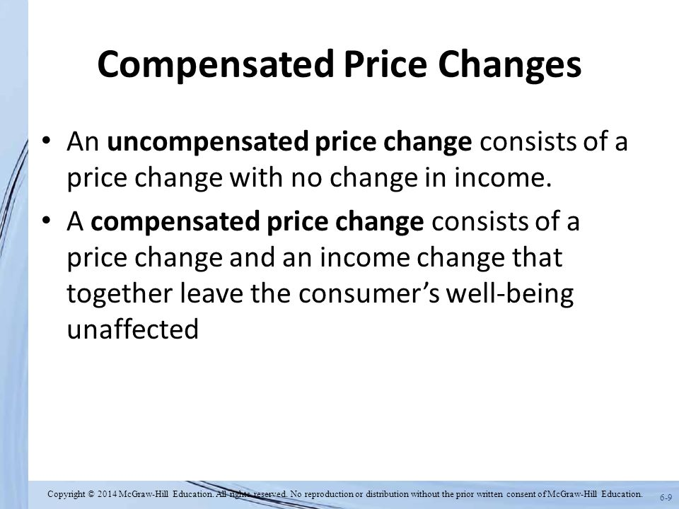 6-9 Compensated Price Changes An uncompensated price change consists of a price change with no change in income. A compensated price change consists o
