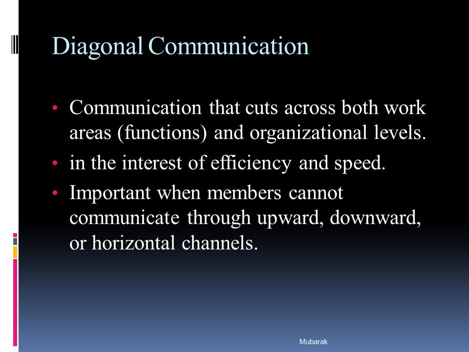 Diagonal Communication Communication that cuts across both work areas (functions) and organizational levels.