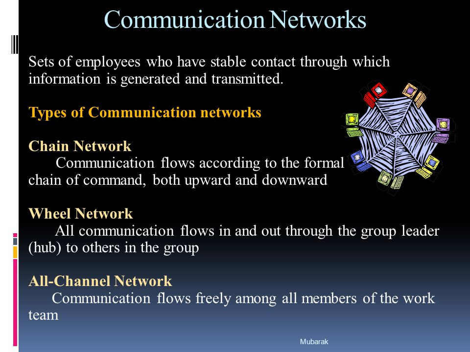 Communication Networks Sets of employees who have stable contact through which information is generated and transmitted.