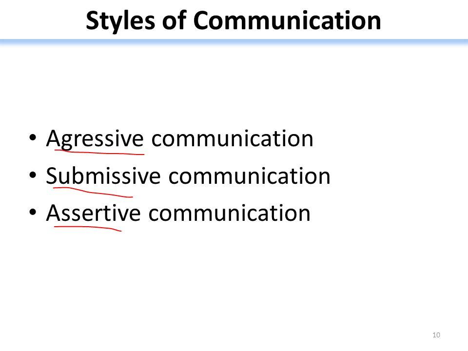 Styles of Communication Agressive communication Submissive communication Assertive communication 10