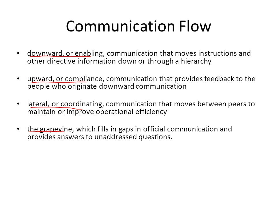 Communication Flow downward, or enabling, communication that moves instructions and other directive information down or through a hierarchy upward, or compliance, communication that provides feedback to the people who originate downward communication lateral, or coordinating, communication that moves between peers to maintain or improve operational efficiency the grapevine, which fills in gaps in official communication and provides answers to unaddressed questions.